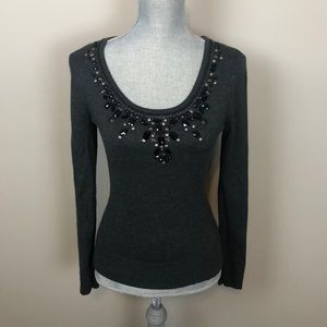 Michael Kors Gray Sweater with Black Beaded Neck